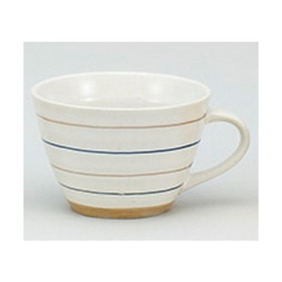 ☆ 洋陶単品 ☆ボーダー 青軽量スープカップ [ 13.5 x 10.5 x 7cm 300cc ] 【 レストラン カフェ 飲食店 洋食器 業務用 】