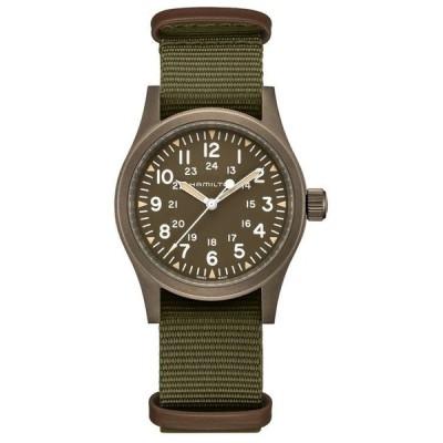 ハミルトン メンズ 腕時計 アクセサリー Men's Swiss Mechanical Khaki Field Green Fabric Strap Watch 38mm