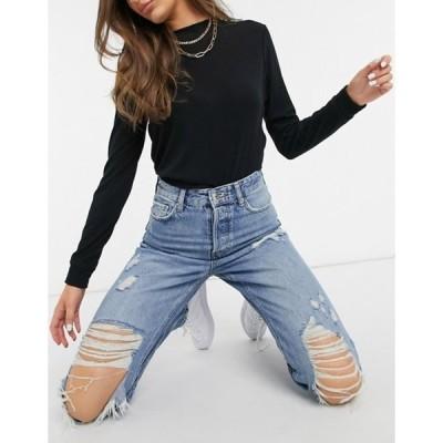 リバーアイランド レディース デニムパンツ ボトムス River Island Carrie ripped hem sculpt mom jeans in mid auth blue