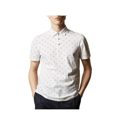 Ted Baker Mixing Short Sleeve Textured Polo with Geo Print メンズ シャツ トップス White