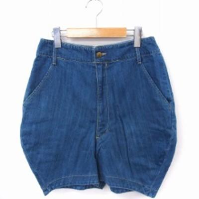 【中古】メルシーボークー mercibeaucoup パンツ デニム コクーン ショート 綿 1 ブルー 青 /FT18 レディース