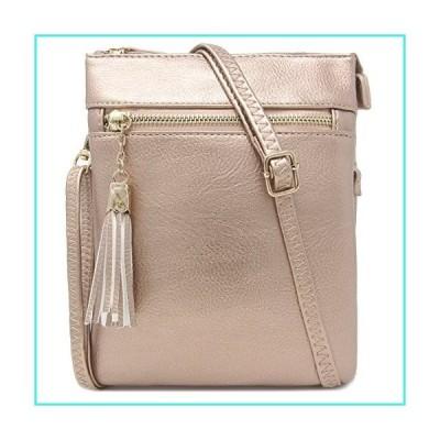 【新品】Solene Women's Faux Leather Variety Colors Fashionable Functional Multi Pocket Crossbody Bag-WU022 (Rose Gold)(並行輸入品)