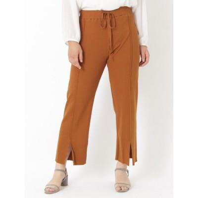 【大きいサイズ】【20秋新着】【L-3L】裾センタースリットパンツ 大きいサイズ パンツ レディース