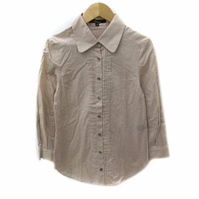 【中古】フラミューム Flammeum シャツ ブラウス ラウンドカラー 七分袖 無地 薄手 38 ピンクベージュ レディース