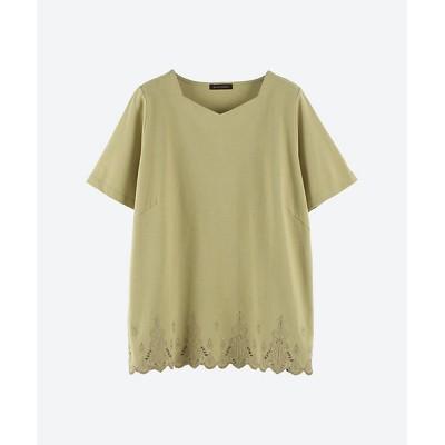 <green nout(Women/大きいサイズ)/グリーンノート> 30/2 天竺 裾スカラップ刺繍 プラスサイズ ソフトグリーン(360)【三越伊勢丹/公式】