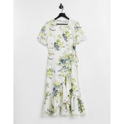 ウエアハウス レディース ワンピース トップス Warehouse bonnie rose linen wrap dress in multi Neutral print