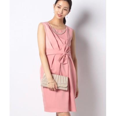 (Eimy Peral/エイミーパール)ネックレス付タテリボンタイトドレス/レディース ピンク