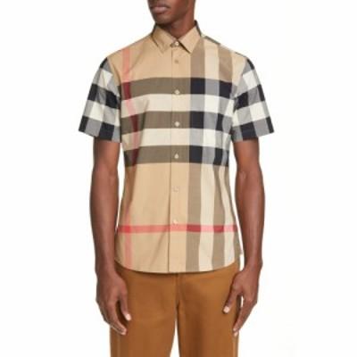 バーバリー BURBERRY メンズ シャツ トップス somerton plaid button-up shirt Camel