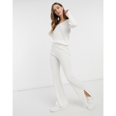 エイソス レディース カジュアルパンツ ボトムス ASOS DESIGN coordinating knitted wide leg pants with split detail in cream Cream