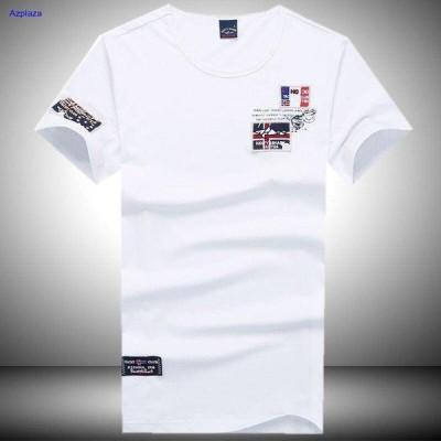 Tシャツ メンズ 半袖 ワッペン付き クルーネック ストレッチ 夏物 カジュアル アメカジ
