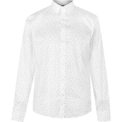 マイケル コース Michael Kors メンズ シャツ トップス Mk Ls Slim Dot Sht Sn03 White