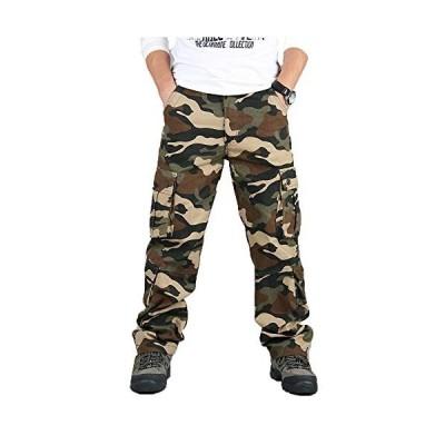LLXNN メンズ カーゴパンツ ゆったり 迷彩 綿 ミリタリー 多機能 作業着 ベーシック ワーク ロング パンツ 8ポケット ズボン 大