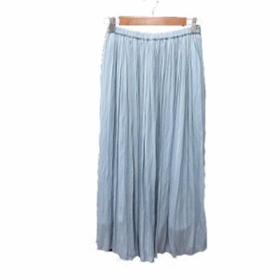 【中古】アンレクレ en recre ギャザースカート プリーツ ロング M 青 ブルー /MS レディース