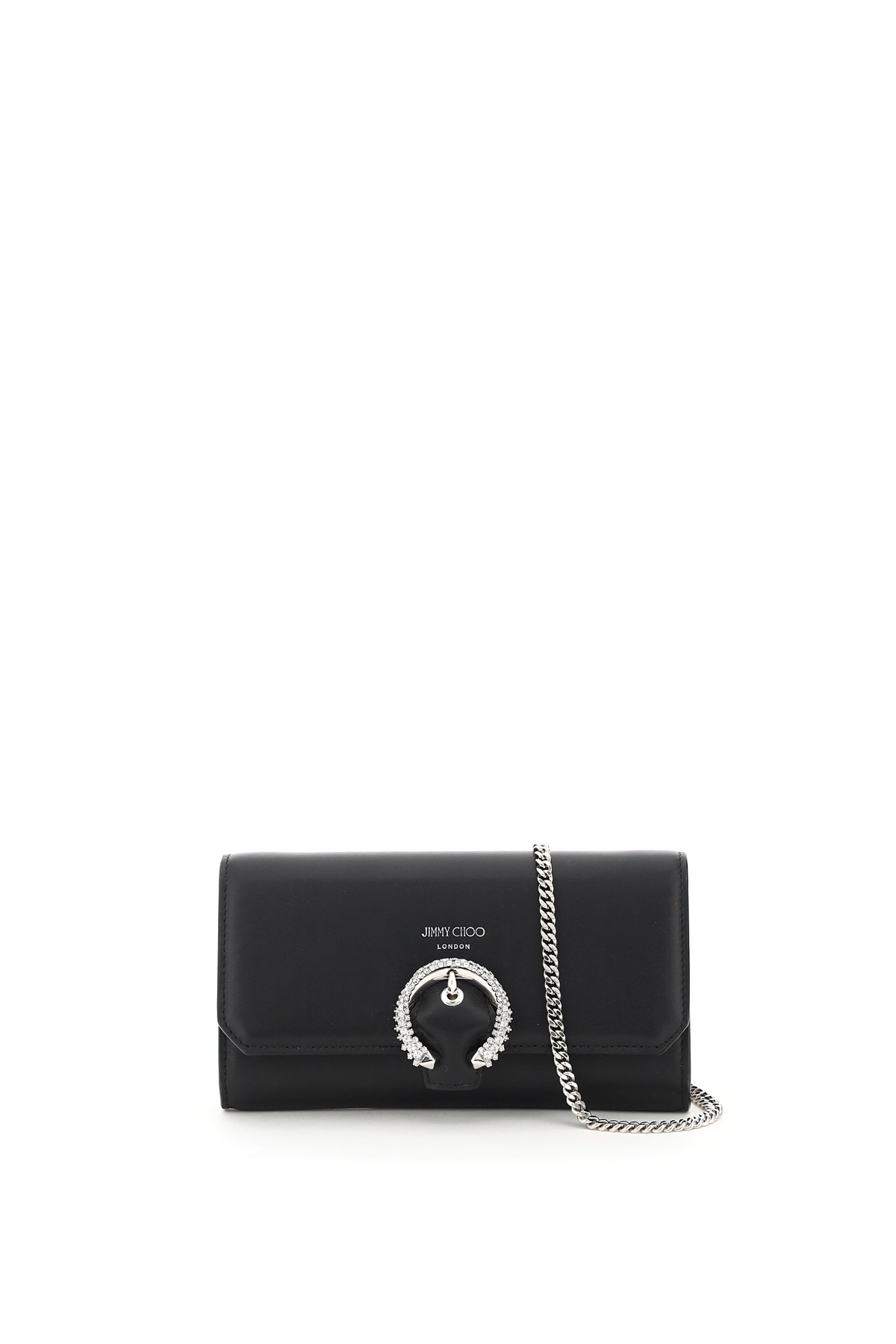 JIMMY CHOO WALLET WITH CHAIN OS Black Leather