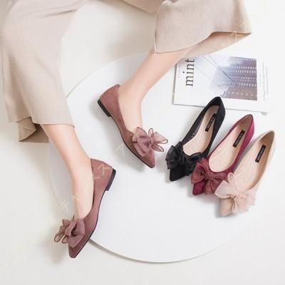 パンプス ぺったんこ 黒 Vカット 靴 足が疲れない靴 パンプス 痛くない 外反母趾 リボン ローヒール 1cmヒール フラットパンプス ぺたんこ 大きいサイズ