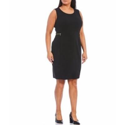 カルバンクライン レディース ワンピース トップス Plus Size Knit Jacquard Round Neck Sleeveless Zip Pocket Sheath Dress Black