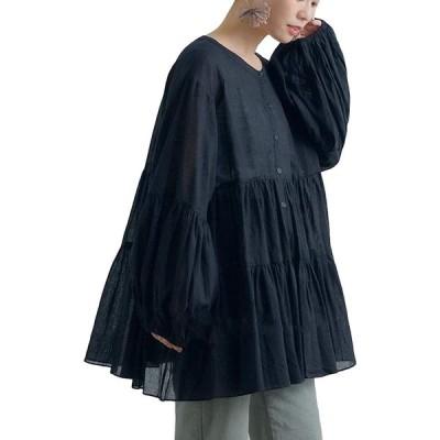 【ロプクス】LOPKS. ティアードチュニック ブラウス ふんわり袖 長袖 ロングシャツ トップス チュニック 無地 段々 バルーンスリーブ スタンド