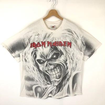 【古着】 IRON MAIDEN アイアンメイデン バンドプリントTシャツ ビッグプリント エディー 90年代 ホワイト系 メンズXL 【中古】 n028027