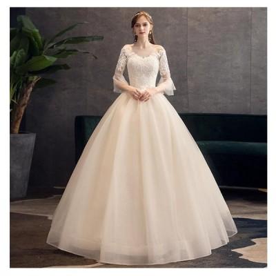 ロングドレス 袖あり ウエディングドレス Aラインドレス パーティードレス ステージ衣装 二次会 結婚式ドレス 披露宴 謝恩会 演奏会 発表会 成人式