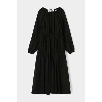 マウジー moussy GATHER TIERED FLARE DRESS (ブラック)