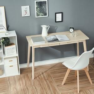 樂嫚妮 簡約雙抽屜工作桌/書桌/辦公桌-寬120深55高74cm原木色
