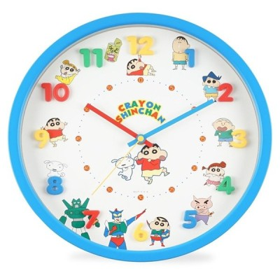 クレヨンしんちゃん 掛け時計 ブルー 2926114  連続秒針 立体文字盤 単3形電池×1本使用