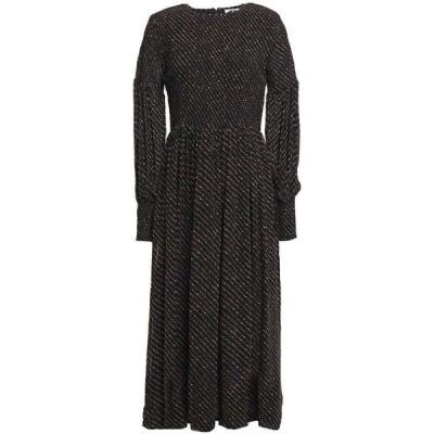 ガニー GANNI レディース ワンピース ミドル丈 ワンピース・ドレス Shirred polka-dot georgette midi dress Black