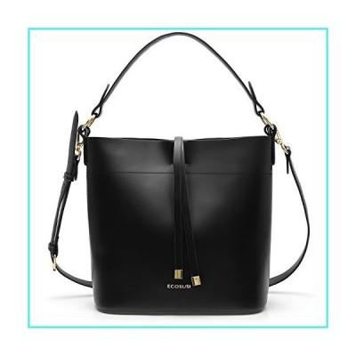 【新品】ECOSUSI Bucket Bag Women Top Handle Handbags Satchel Purse Tote Bag Shoulder Bag, Black(並行輸入品)