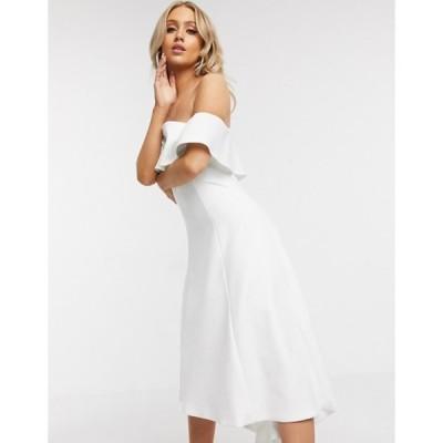 チチロンドン レディース ワンピース トップス Chi Chi London ruffle bandeau prom dress in white