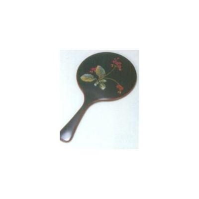 越前漆器 漆遊館 歳時記 【G4320-05】 溜 桜草 手鏡 化粧箱 28.2×14.7×1.2cm