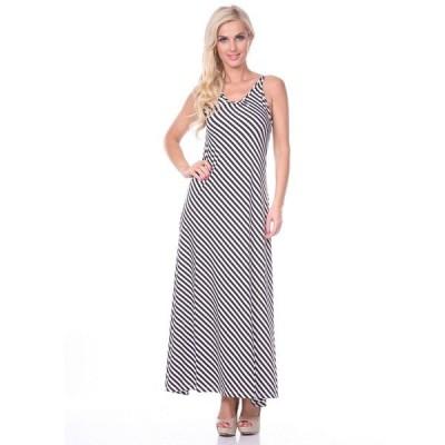 ホワイトマーク ワンピース トップス レディース Women's Backless Striped Maxi Dress Black