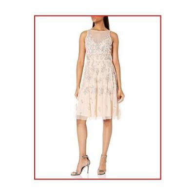 【新品】Adrianna Papell Women's Bead Tea Length Dress, CHAMPAGNE SAND, 16【並行輸入品】