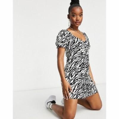 モーテル Motel レディース ワンピース ミニ丈 ワンピース・ドレス Mini Tea Dress With Puff Sleeves In 90S Zebra