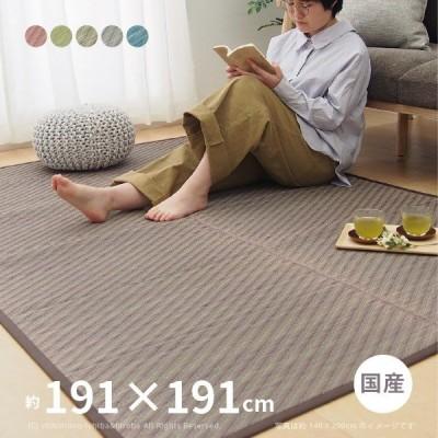 国産い草ラグ ララーナ 約191×191cm(約2.5畳)日本製 カーペット 和風 ポップ カラフル おしゃれ インスタ映え 4人家族 シンプル