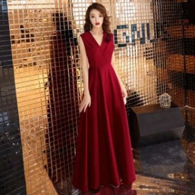 ロングドレス ワイン赤 50代ファション イブニングドレス ノースリーブ Vネック 襟付き 30代 40代 パーティードレス 二次会 お呼ばれドレ