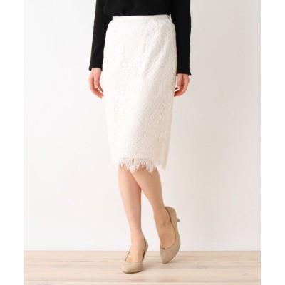 index/インデックス 【洗える・42(LL)WEB限定サイズ】パターンレースタイトスカート オフホワイト(003) 38(M)