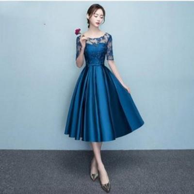 20代 上品で大人可愛いサテン地ひざ丈ドレス