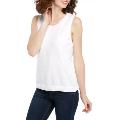 キムロジャーズ ニット&セーター アウター レディース Women's Sleeveless Shell Sweater with Tipping  True White