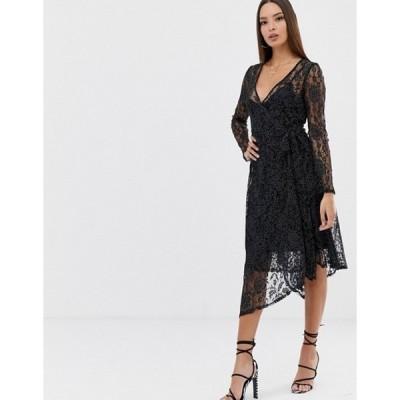 エイソス レディース ワンピース トップス ASOS DESIGN polka dot print lace midi wrap dress