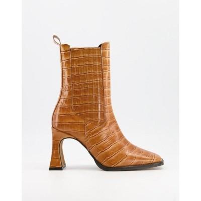 エイソス レディース ブーツ&レインブーツ シューズ ASOS DESIGN Radius premium leather high heeled boots in tan croc Tan croc