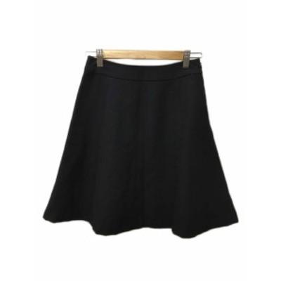 【中古】テチチ Te chichi スカート フレア ひざ丈 ウール M 黒 ブラック レディース