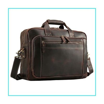 "Texbo Men's Solid Thick Full Grain Leather 17.3"" Laptop Briefcase Messenger Bag Fit Business Travel【並行輸入品】"