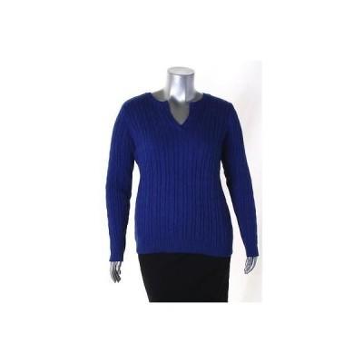 チャータークラブ セーター ニット Charter Club ブルー Plus サイズ Cable ニット Split Neck セーター Sz 1X 69 LAFO