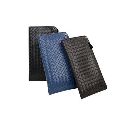 (スミスウェッソン) SMITHWESSON 長財布 メンズ財布 最高級本革 セカンドバッグ 編み込み ビジネス財布 ブラウン