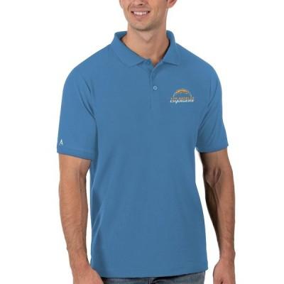 """メンズ ポロシャツ """"Los Angeles Chargers"""" Antigua Legacy Pique Polo - Powder Blue"""
