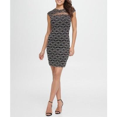 ケンジー レディース ワンピース トップス Illusion Yoke Floral Stripe Lace Scallop Hem Sheath Dress