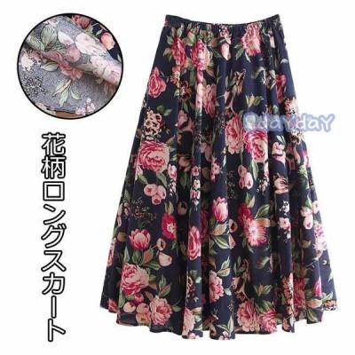マキシスカート 花柄 レディース フレアスカート Aラインスカート 薄手 スカート ウエストゴム ロングスカート レトロ 花柄スカート