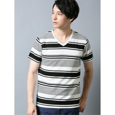 杢リップルボーダー Vネック半袖Tシャツ