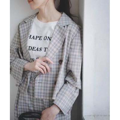 ジャケット テーラードジャケット 【Sシリーズ対応】◆チェック短丈ジャケット