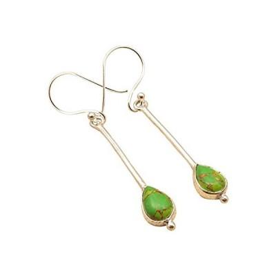 特別価格Genuine GREEN COPPER TURQUOISE Earrings ! 925 Sterling Silver Plated Girls'好評販売中